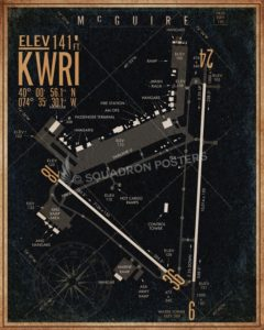 McGuire AFB KWRI Airfield Map Art McGuire_Field_KWRI_airfield_map-SP00898-featured-aircraft-lithograph-vintage-airplane-poster-art