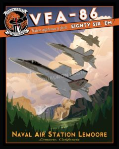 NAS Lemoore VFA-86 nas_lemoore_fa-18_vfa-86_sp01196-featured-aircraft-lithograph-vintage-airplane-poster-art