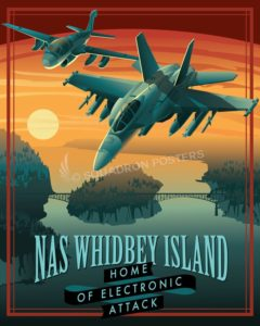 NAS Whidbey Island EA-18G, EA-6B NAS_Whidbey_EA-18_P8-A_Generic_SP01423-featured-aircraft-lithograph-vintage-airplane-poster-art