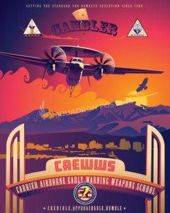NAS Fallon CAEWWS E-2 Hawkeye nas_fallon_nevada_e-2_caewws_sp01207-featured-aircraft-lithograph-vintage-airplane-poster-art