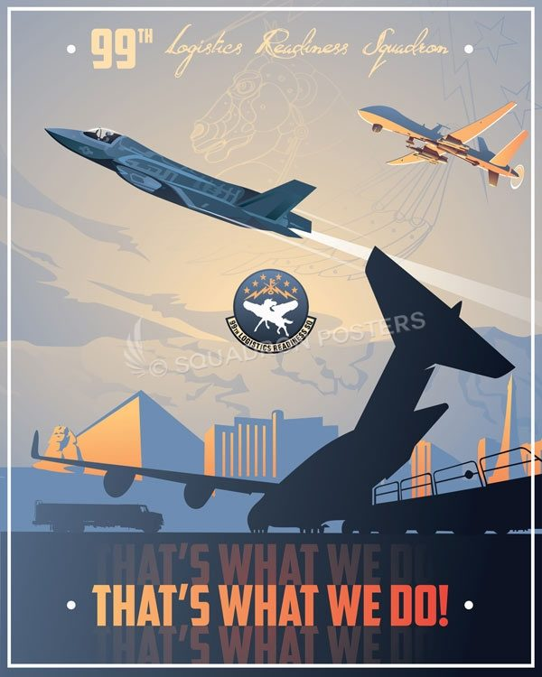 Nellis AFB 99th LRS Nellis_Las_Vegas_F-35_99th_LRS_SP01350-featured-aircraft-lithograph-vintage-airplane-poster-art