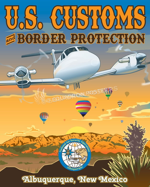 us customs border protection new_mexico_king_air_customs_and_border_control_generic_sp01369 featured aircraft lithograph vintage airplane