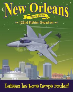 Louisiana ANG 122d Fighter Squadron F-15 New_Orleans_F-15_122_FS_SP01429-featured-aircraft-lithograph-vintage-airplane-poster-art