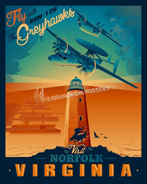 Norfolk-VAW-120-Greyhawks-SP00487-vintage-military-aviation-travel-poster-art-print-gift