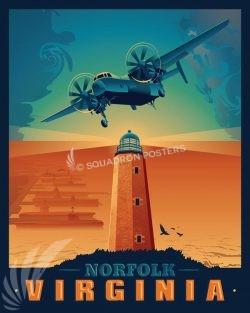 Norfolk Virginia C-2 Greyhound Norfolk_C-2A_GENERIC_SP01480-featured-aircraft-lithograph-vintage-airplane-poster-art