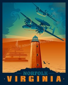 Norfolk Virginia E-2 Hawkeye C-2 Greyhound Norfolk_E-2C_GENERIC_SP01481-featured-aircraft-lithograph-vintage-airplane-poster-art