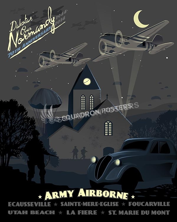 Normandy Airborne SP00529-vintage-military-aviation-travel-poster-art-print-gift