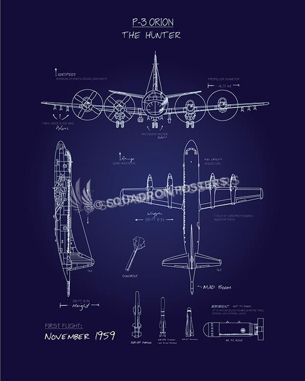 P3 orion blueprint art squadron posters p 3 blueprint sp00609 vintage military aviation travel poster malvernweather Choice Image