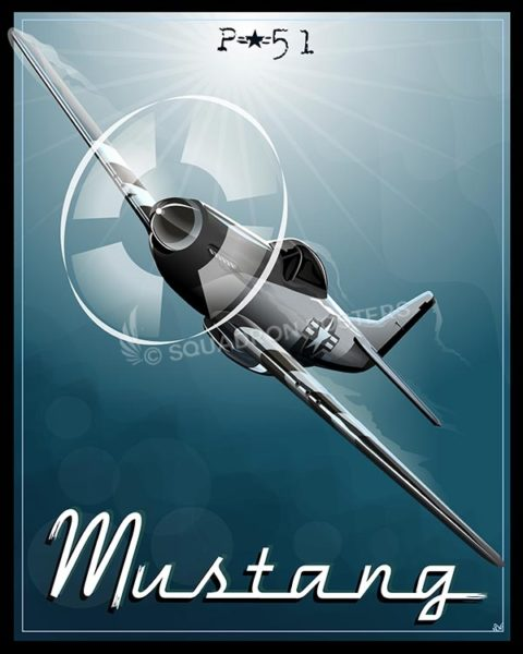 P-51 Mustang SP00534-vintage-military-aviation-travel-poster-art-print-gift