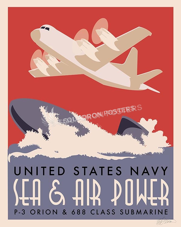 P-3 Orion and Sub P3 and Sub SP00592-vintage-military-aviation-travel-poster-art-print-gift