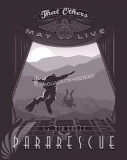 USAF Pararescue pararescue_sp01188-featured-aircraft-lithograph-vintage-airplane-poster-art
