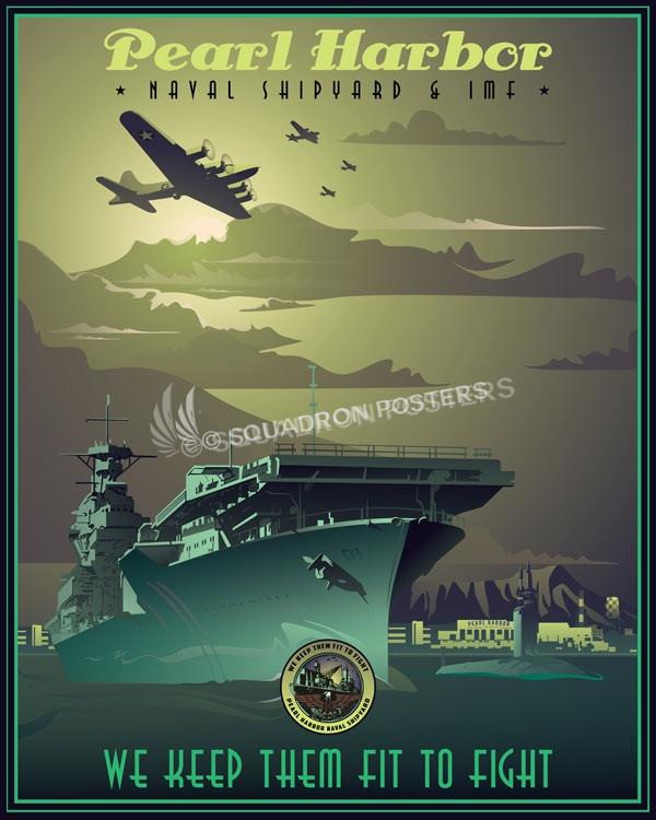 Pearl Harbor Naval Shipyard Amp Imf Poster Art Squadron