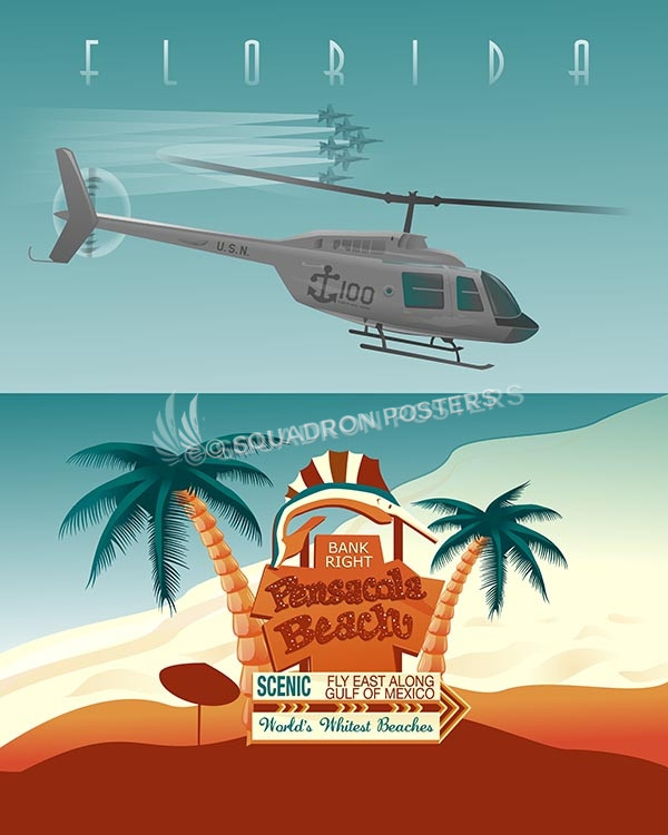 Pensacola TH-57 16x20 SP00499-vintage-military-aviation-travel-poster-art-print-gift