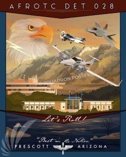 Embry–Riddle Aeronautical University Arizona AFROTC Det 028 Prescott_AZ_AFROTC_F-22_Det_028_SP01410-featured-aircraft-lithograph-vintage-airplane-poster-art