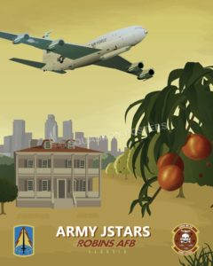 Robins_AFB_Army_JSTARS_SP01013-featured-aircraft-lithograph-vintage-airplane-poster-art
