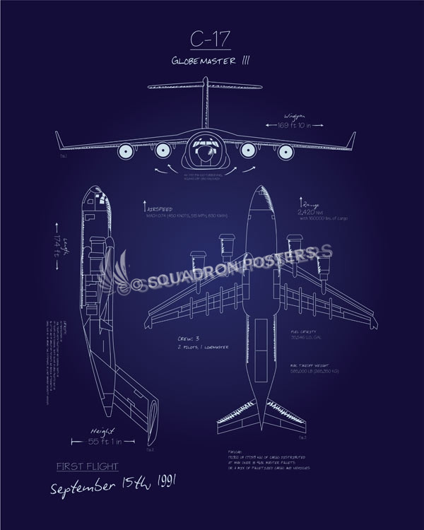 C 17 blueprint art squadron posters c 17 blueprint art c 17 globemaster ii blueprint art sp00635 feature vintage malvernweather Gallery