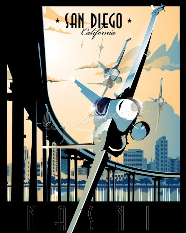 NAS North Island F-18 San_Diego_NASNI_FA-18_1SP01315-featured-aircraft-lithograph-vintage-airplane-poster-art