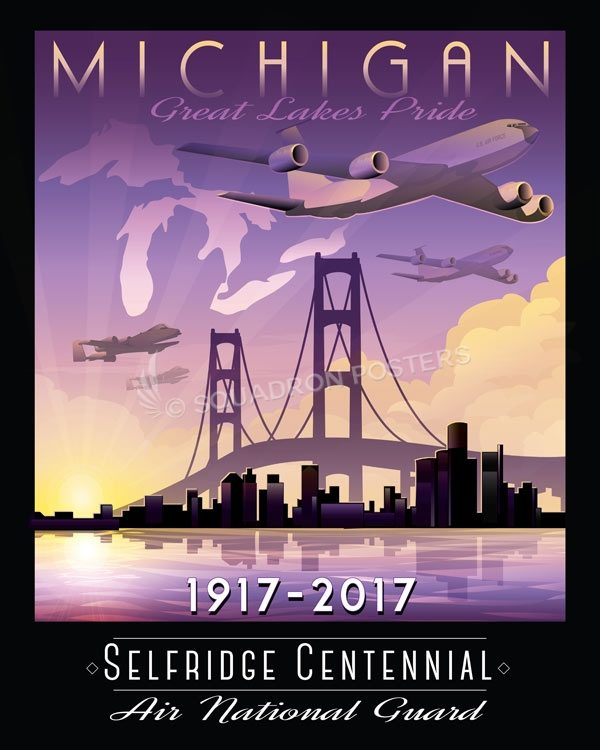 Selfridge ANG Base Centennial Anniversary Art Selfridge_MI_ANG_KC-135-A-10-Centennial_SP01351-featured-aircraft-lithograph-vintage-airplane-poster-art
