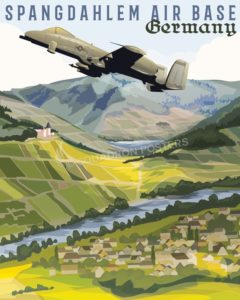 Spangdahlem AB Germany Spangdahlem_AB_Germany_SP01241-featured-aircraft-lithograph-vintage-airplane-poster-art