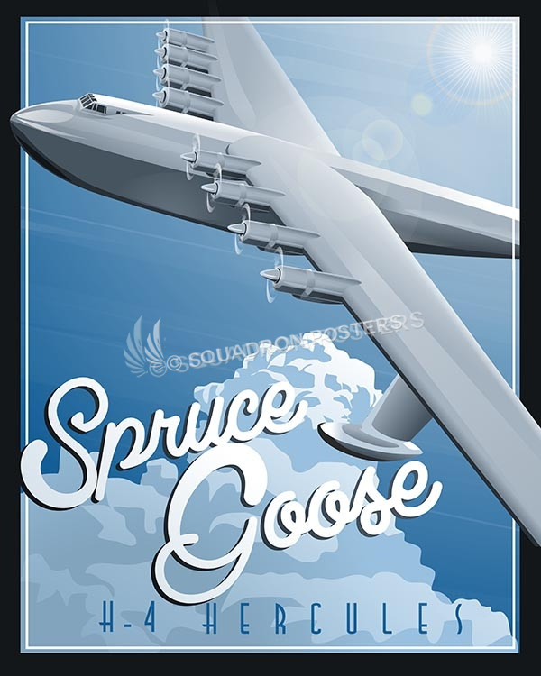 Spruce Goose Hughes H-4 Hercules Spruce Goose SP00546-vintage-military-aviation-travel-poster-art-print-gift