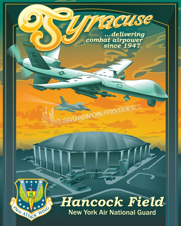 New York ANG 174th Attack Wing MQ-9 syracuse_-_hancock_field_mq-9_carrier_dome_sp01171-featured-aircraft-lithograph-vintage-airplane-poster-art