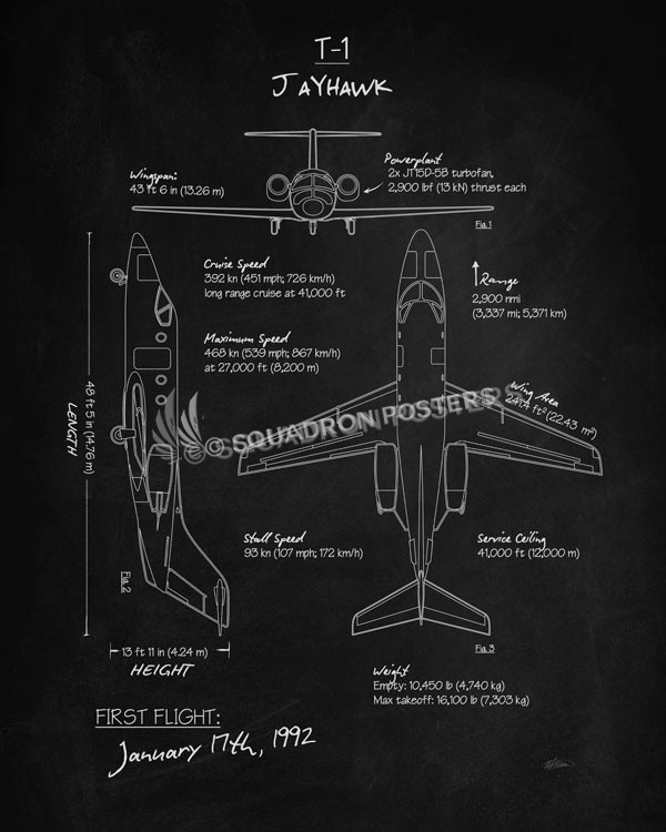 T-1_Jayhawk_Blackboard_Blueprint_SP01015-featured-aircraft-lithograph-vintage-airplane-poster-art