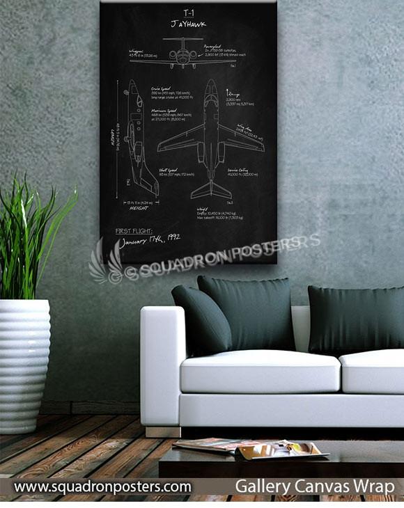 T-1_Jayhawk_Blackboard_Blueprint_SP01015-squadron-posters-vintage-canvas-wrap-aviation-prints-art