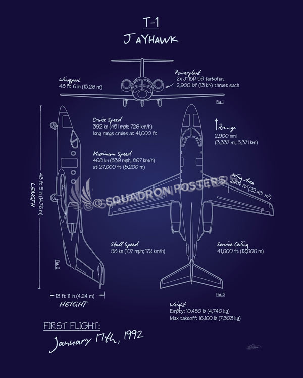 T-1 Jayhawk Blueprint Art T-1_Jayhawk_Blueprint_SP01016-featured-aircraft-lithograph-vintage-airplane-poster-art