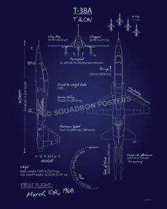 T-38 Talon Blueprint Art T-38A_Talon_Blueprint_SP01044-featured-aircraft-lithograph-vintage-airplane-poster-art