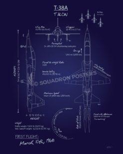T-38 Talon Blueprint Art T-38A_Talon_Blueprint_SP01044-featured-aircraft-lithograph-vintage-airplane-poster-art