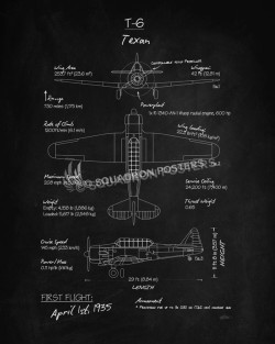 T-6_Texan_Blackboard_Blueprint_SP01017-featured-aircraft-lithograph-vintage-airplane-poster-art