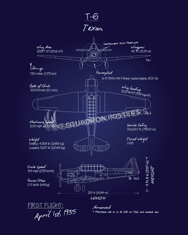 T 6 Texan North American Blueprint Art Squadron Posters