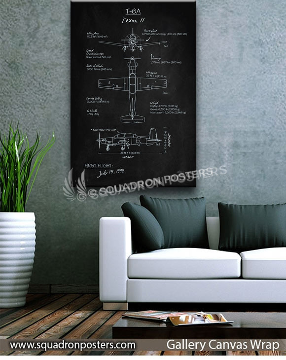 T-6_Texan_II_Blackboard_v2_SP01261-squadron-posters-vintage-canvas-wrap-aviation-prints