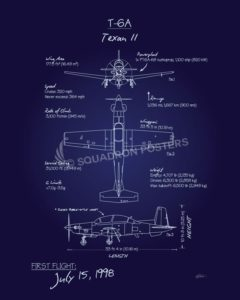 T-6 Texan II Blueprint T-6_Texan_II_Blueprint_v2_SP01262-featured-aircraft-lithograph-vintage-airplane-poster-art