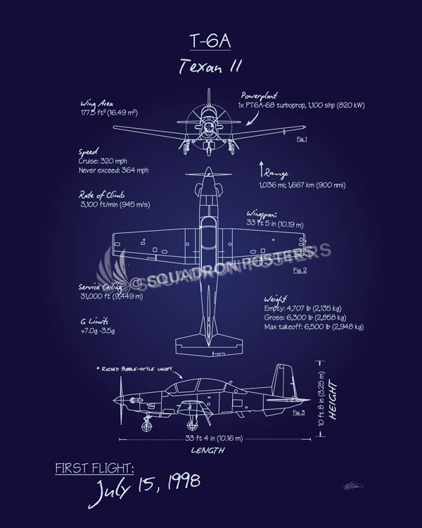 T 6 Texan Ii Blueprint Art Squadron Posters