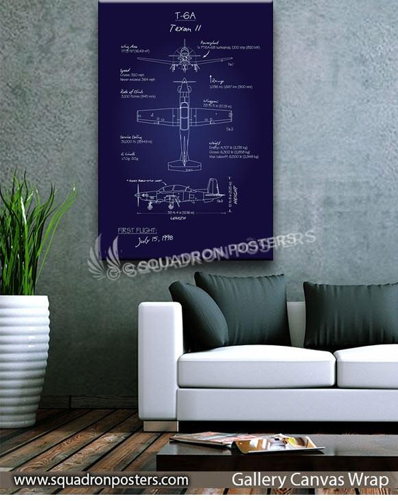 T-6_Texan_II_Blueprint_v2_SP01262-squadron-posters-vintage-canvas-wrap-aviation-prints