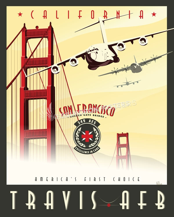 Travis Afb 349th Aes Golden Gate Bridge Squadron Posters