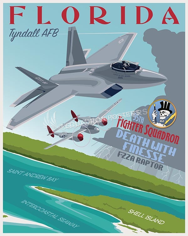 Tyndall F22 95th FS SP00634-vintage-military-aviation-travel-poster-art-print-gift