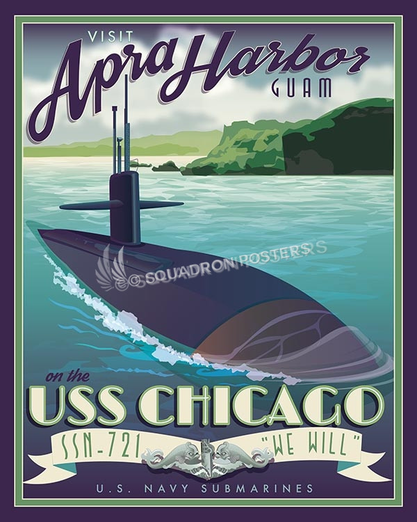 USS Chicago Guam SP00590-vintage-military-naval-travel-poster-art-print-gift