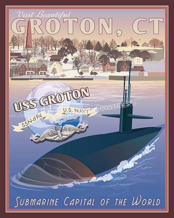 USS Groton CT SP00567-vintage-military-naval-travel-poster-art-print-gift