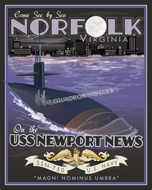 USS Newport News VA SP00557-vintage-military-aviation-travel-poster-art-print-gift