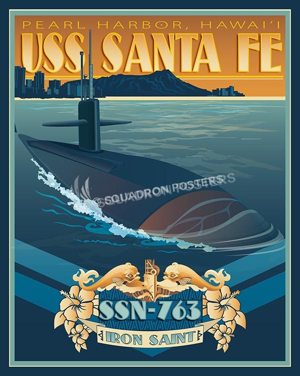 USS Santa Fe SP00572-vintage-military-aviation-travel-poster-art-print-gift