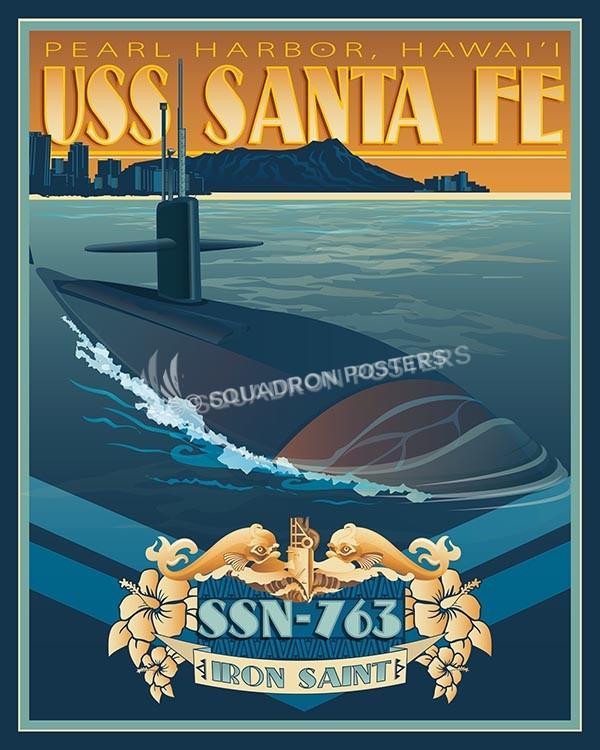 USS Santa Fe SP00572-vintage-military-aviation-travel-poster-art-print-gift