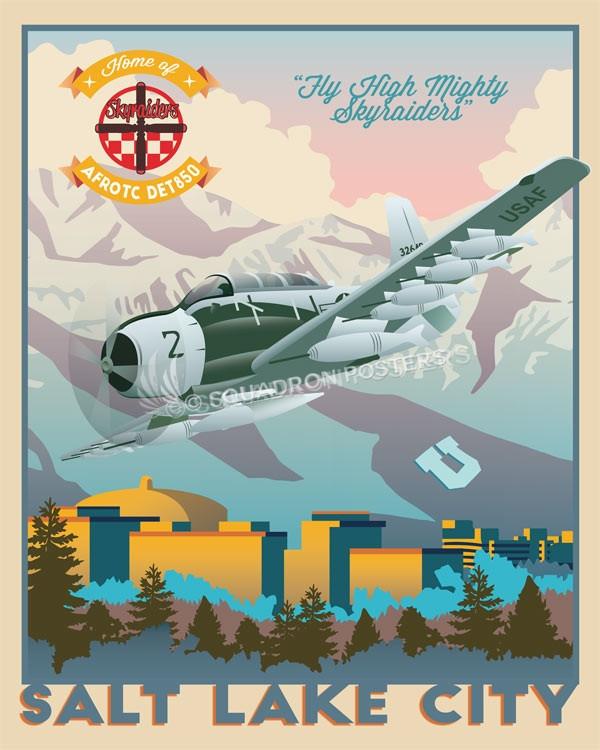Det 850 utah_a1-e_afrotc_det_850_sp01194-featured-aircraft-lithograph-vintage-airplane-poster-art