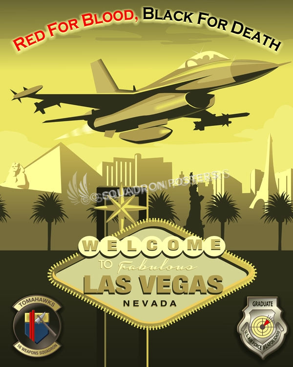 Vegas F-16 16th Weapons Squadron SP00705 feature-vintage-print