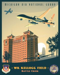 Michigan ANG 172nd Attack Squadron MQ-9 WK_Kellogg_Field_MQ-9_110_ATKW_172_ATKS_SP01275-featured-aircraft-lithograph-vintage-airplane-poster-art