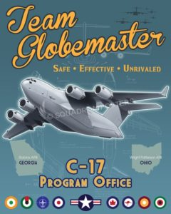 C-17 System Program Office poster art Wright_Patterson_C-17_SPO_SP01411-featured-aircraft-lithograph-vintage-airplane-poster-art