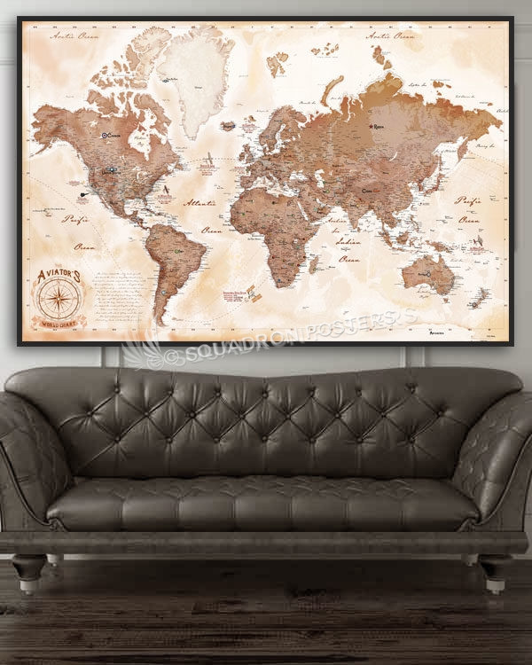 The Aviator\'s Map – push pin travel map – Squadron Posters