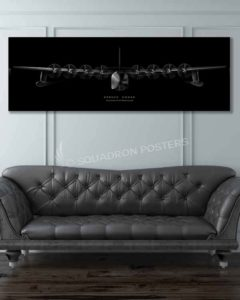 H-4 Hercules Spruce Goose Jet Black Super Wide Canvas Print spruce-goosemilitary-air-force-aviation-artwork-poster-jet-black-litho