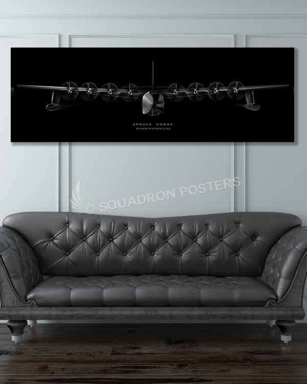 H-4 Hercules Spruce Goose Jet Black Super Wide Canvas Print spruce-goosemilitary-air-force-aviation-artwork-poster-jet-black-litho